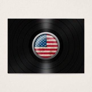 American Flag Vinyl Record Album Graphic Business Card