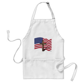 American Flag Waving and Rugged Cross Adult Apron