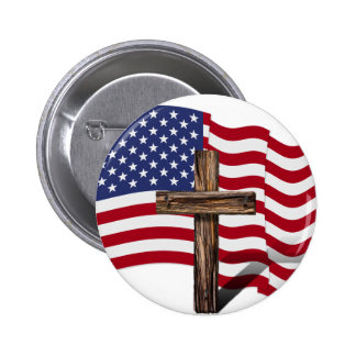 American Flag Waving and Rugged Cross Button