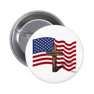 American Flag Waving and Rugged Cross Buttons