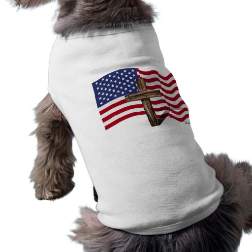 American Flag Waving and Rugged Cross Dog Tshirt