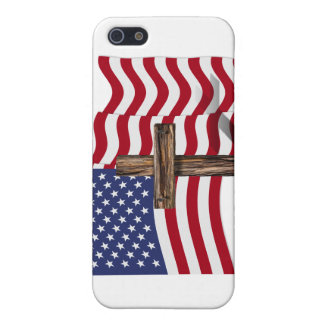 American Flag Waving and Rugged Cross iPhone 5 Case