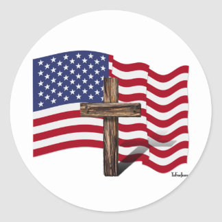 American Flag Waving and Rugged Cross Round Sticker