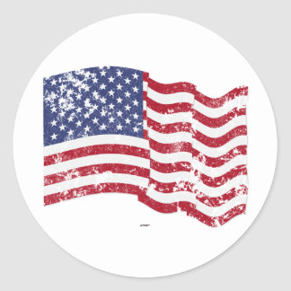 American Flag Waving - Distressed Round Sticker