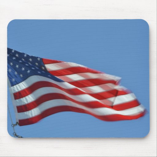 American Flag waving in the breeze mouse pad