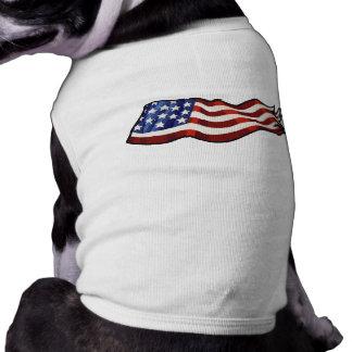 American Flag Waving Patriotic Sleeveless Dog Shirt