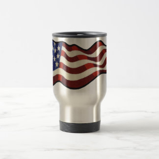 American Flag Waving Thermo Mug