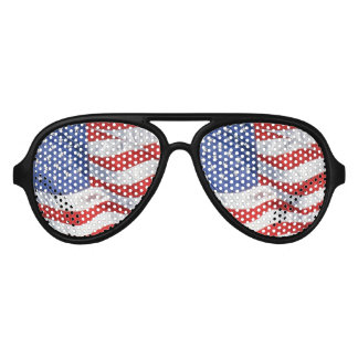 American Flag Waving Wind Patriotic USA Aviator Sunglasses