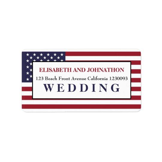American Flag Wedding Label