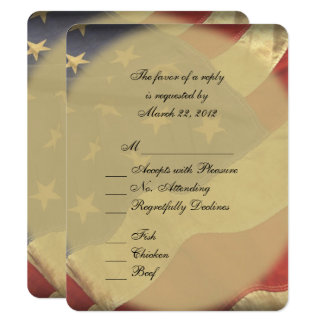 American Flag Wedding RSVP with Menu Choices Card