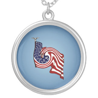 American Flag Whirlwind Flow Silver Necklace
