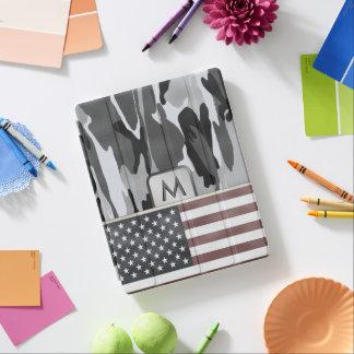 American Flag Winter Camo MonoGram iPad Cover