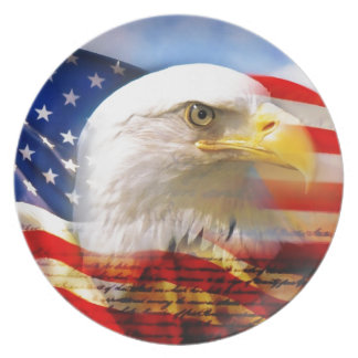 American Flag with Bald Eagle Dinner Plate