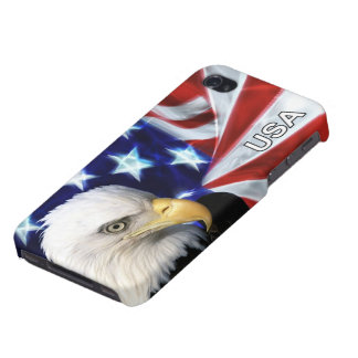 American Flag with Bald Eagle Cover For iPhone 4