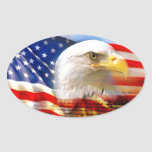 American Flag with Bald Eagle Oval Sticker