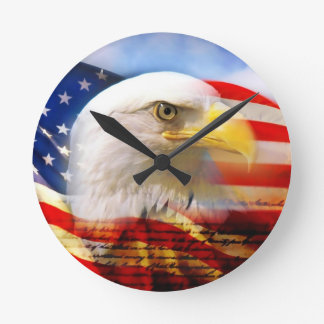 American Flag with Bald Eagle Round Wall Clock