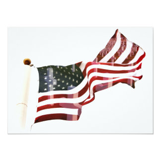 American Flag with Crosses 14 Cm X 19 Cm Invitation Card