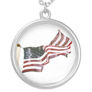 American Flag with Crosses Round Pendant Necklace