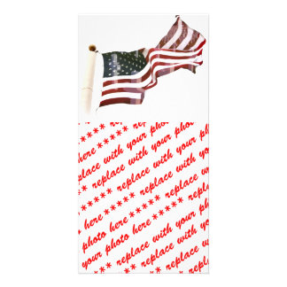 American Flag with Crosses Custom Photo Card