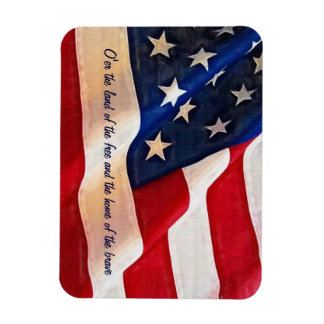 American Flag with custom Anthem text Rectangular Magnets