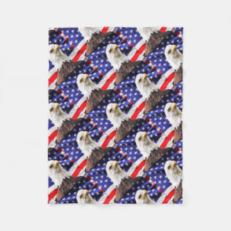 American Flag with Eagle Fleece Blanket