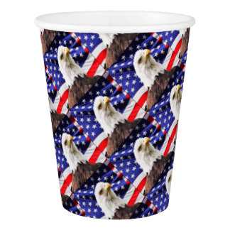 American Flag with Eagle Paper Cup