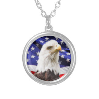 American Flag with Eagle Silver Plated Necklace
