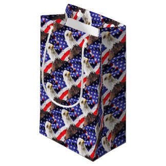 American Flag with Eagle Small Gift Bag