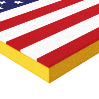 American Flag with Gold Border Gallery Wrap Canvas
