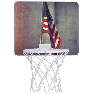 American Flag with Grain Bins Mini Basketball Hoop