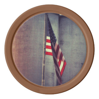 American Flag with Grain Bins Poker Chips
