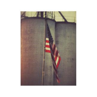 American Flag with Grain Bins Wood Poster