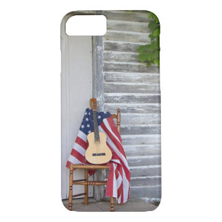American flag with guitar on chair iPhone 8/7 case