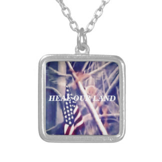 American Flag with Inspirational Quote Square Pendant Necklace