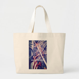 American Flag with Inspirational Quote Jumbo Tote Bag