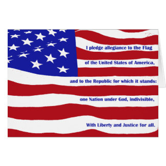 American flag with Pledge on stripes Greeting Card