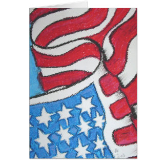 American Flag with Six Pointed Stars Greeting Card
