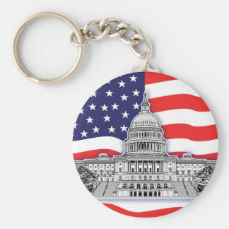 American Flag with The U.S. Capitol Building Basic Round Button Key Ring