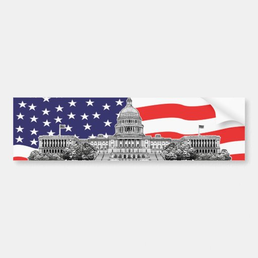 American Flag with The U.S. Capitol Building Bumper Sticker