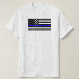 American Flag With Thin Blue Line Support Police T-Shirt