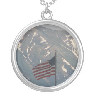 American Flag with Utah Mountain Background Round Pendant Necklace