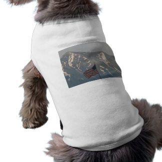 American Flag with Utah Mountain Background Sleeveless Dog Shirt