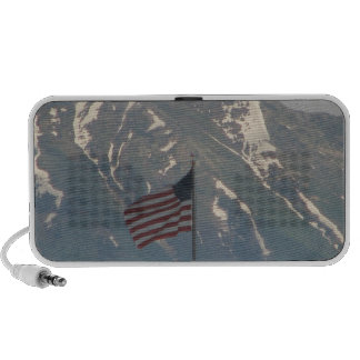 American Flag with Utah Mountain Background iPhone Speakers