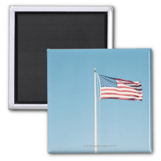 American flag with vintage look square magnet