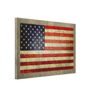 American Flag with vintage, weathered finish Canvas Print