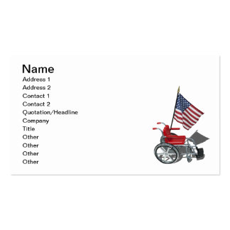 American Flag with Wheelchair Pack Of Standard Business Cards