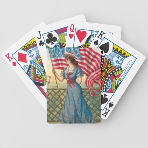 American Flag Woman Vintage Print Playing Cards