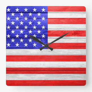 American Flag Wood Wallclock