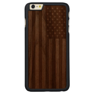 American Flag Wooden Carved Walnut iPhone 6 Plus Case