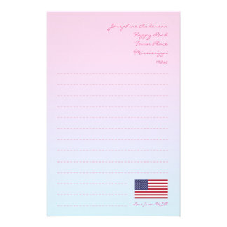 American Flag Writing Paper Customized Stationery